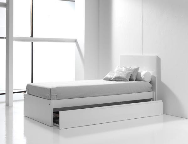 Camas juveniles blancas y modernas para ni os con cama for Camas infantiles diseno moderno