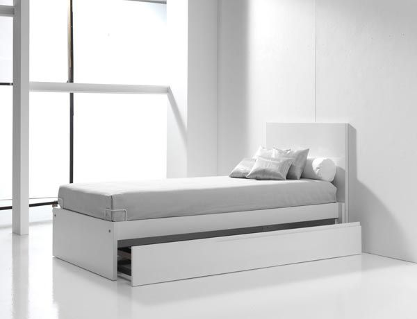 Camas juveniles blancas y modernas para niños, con cama nido para ...