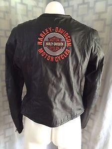 Womens-Harley-Davidson-Black-Logo-Zip-Up-Long-Sleeve-Leather-Moto-Jacket-M
