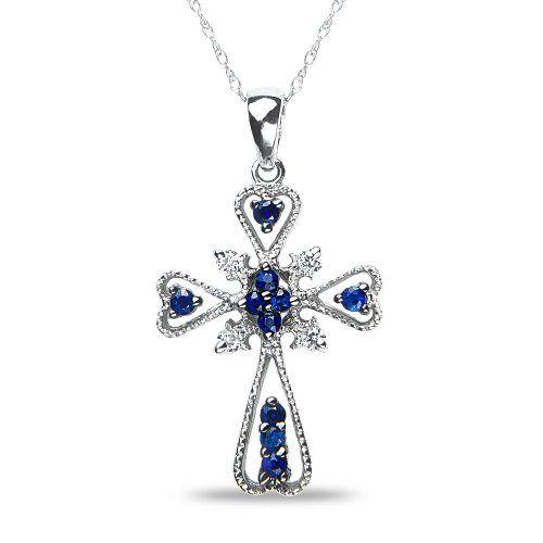 Womens 06ct diamond cross pendant with sapphire in 10k white gold womens 06ct diamond cross pendant with sapphire in 10k white gold mozeypictures Choice Image