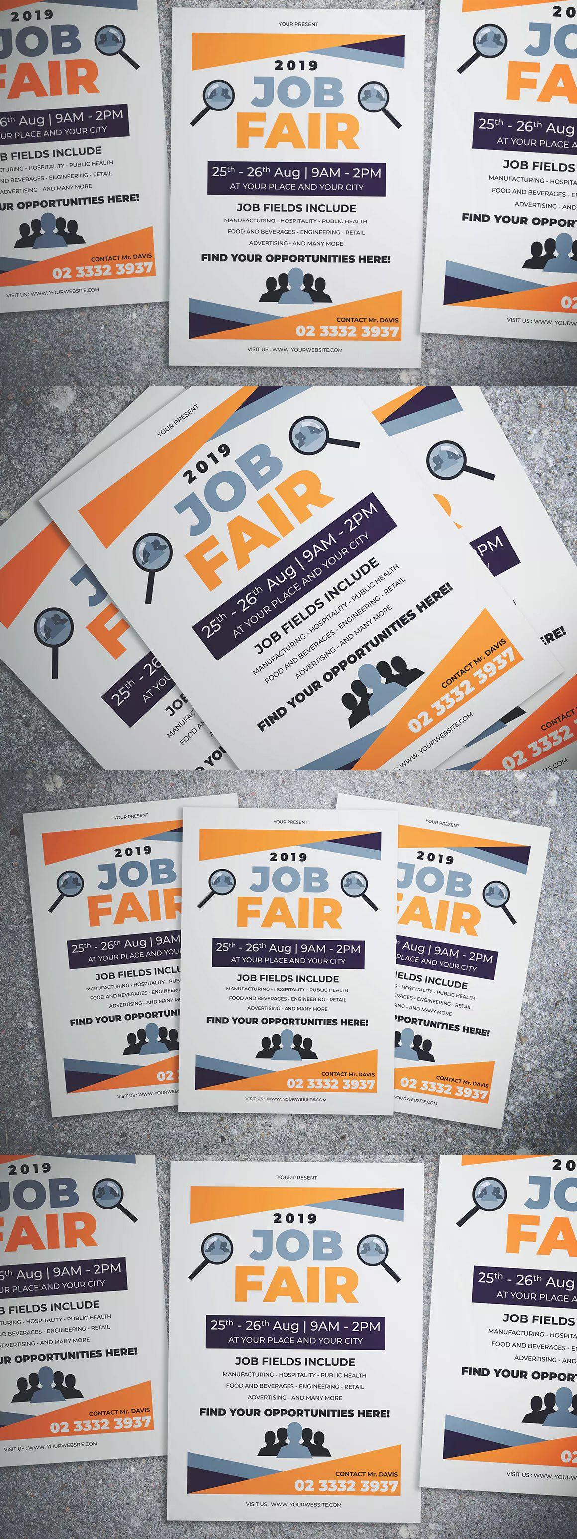 simple job fair event flyer template ai psd a4