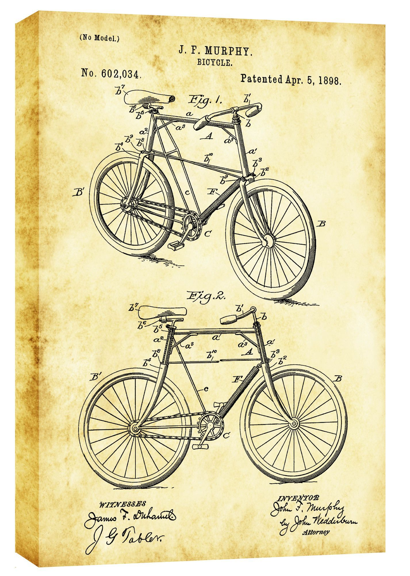 Bicycle Vintage Patent Blueprint Graphic Art on Canvas | Bicycles ...