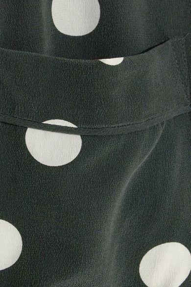 570e6adb2bdde Equipment - Keira Polka-dot Washed-silk Shirt - Emerald - x small ...
