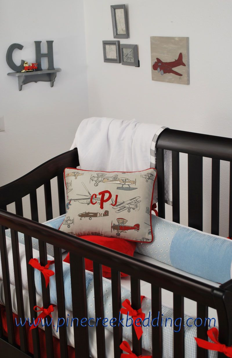 Vintage Airplane Crib Bedding With Red And Blue And Grey