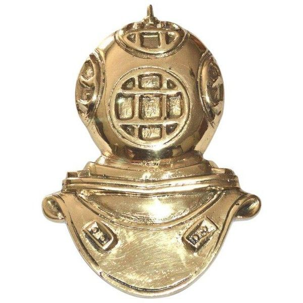 Brass Diving Helmet Door Knocker ($125) ❤ liked on Polyvore featuring home, home decor, decorative hardware, door knockers, brass home decor, brass home accessories, solid brass door knocker and brass door knocker