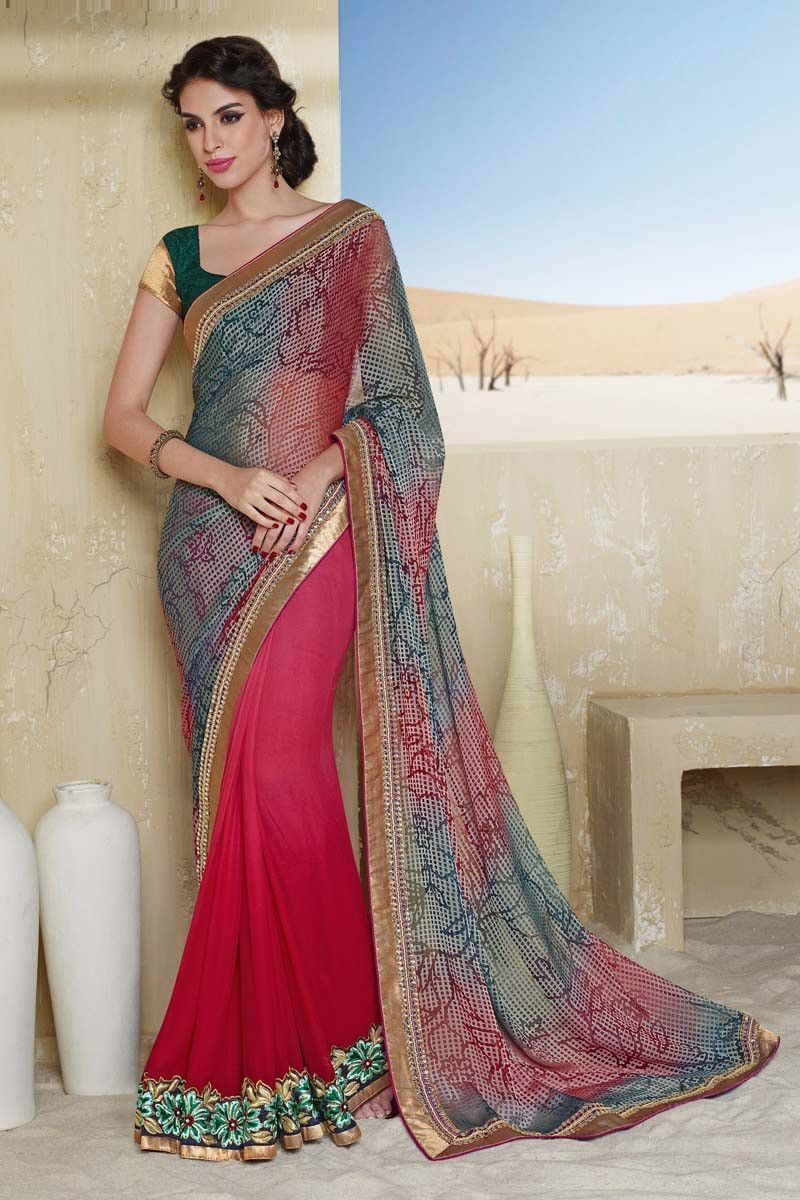 Saree blouse designs buy multi shimmer designer saree online in low price at variation