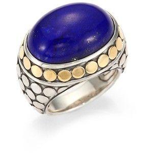 John Hardy Batu Dot Lapis Lazuli 18k Yellow Gold Sterling Silver Dome Ring Domed Ring Rings Sterling Silver