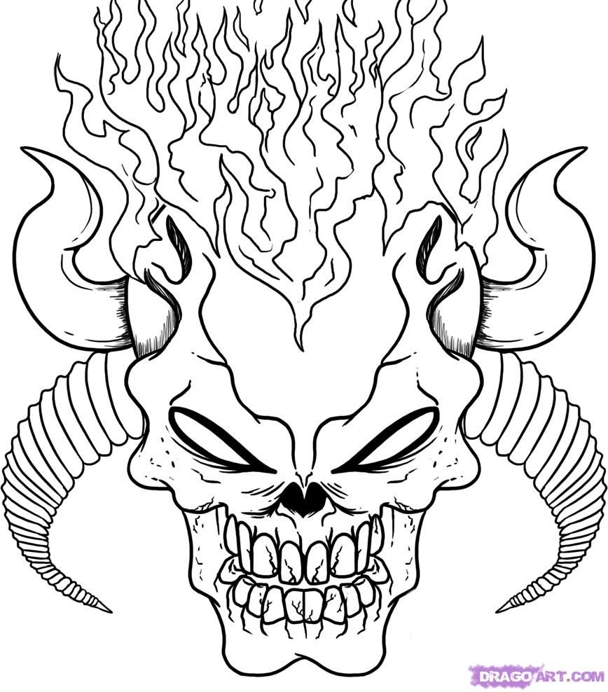 Demon Skull Coloring Pages Scary Coloring Pages Coloring Pages