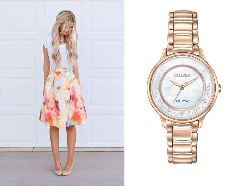 Reloj Dama CITIZEN ECO-DRIVE L CIRCLE OF TIME. Doble cristal zafiro curvo, caratula madre perla, 7 diamantes de 1.2mm en anillo, con certificado, caja acero, WR50