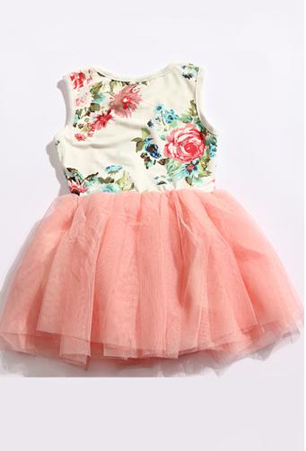 Peachy Pink Floral Tutu Dress - Thumbnail 2