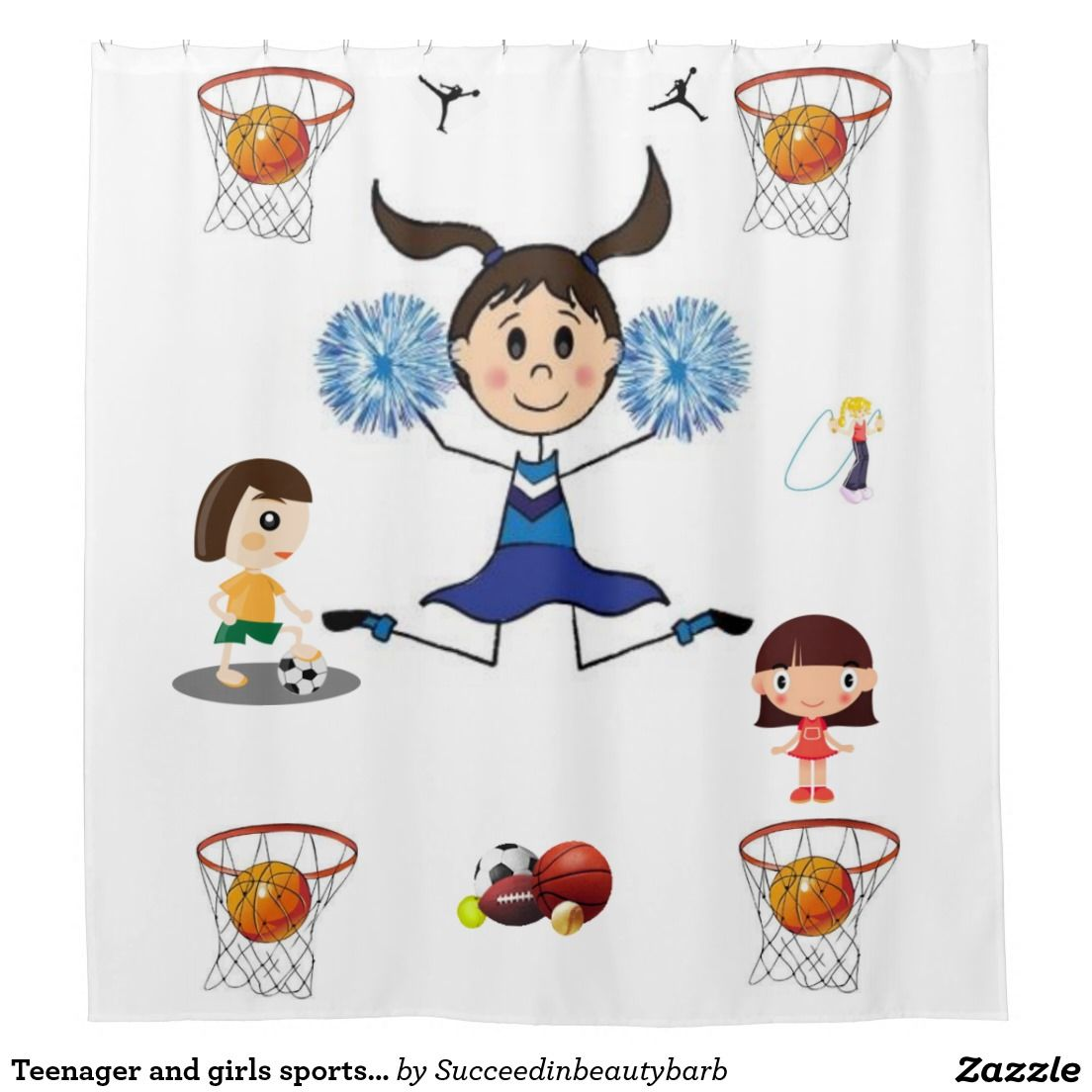 Sports shower curtain - Teenager And Girls Sports Shower Curtain