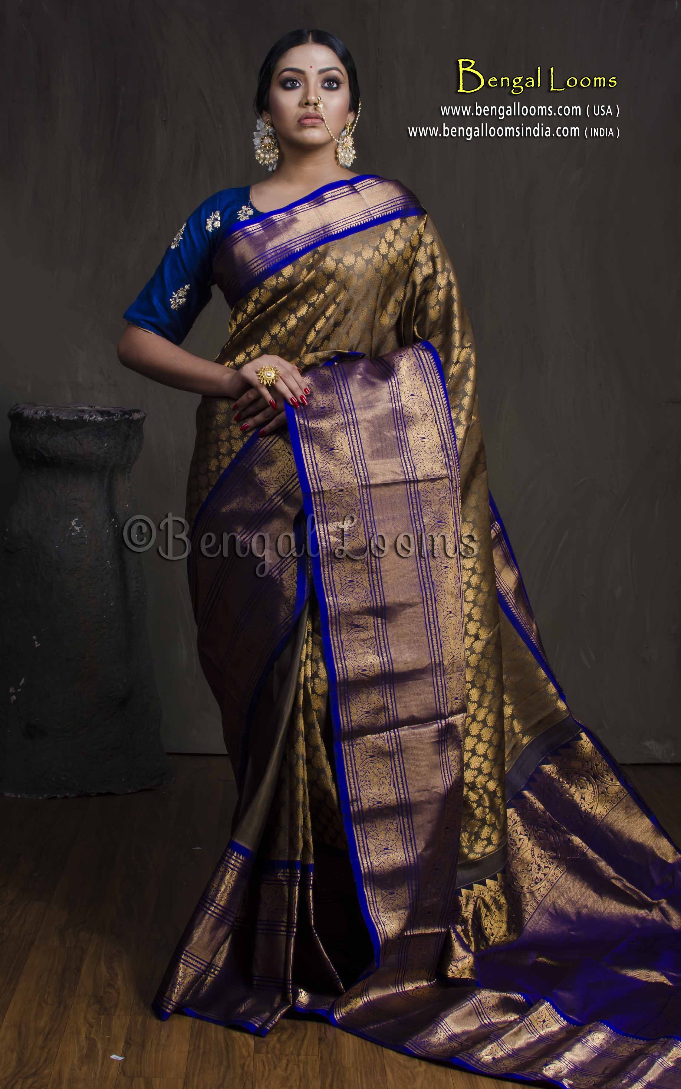 94778809543e3 Premium Quality Brocade Kanjivaram Saree in Metallic Brown and Dark Blue
