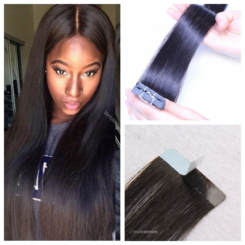 7a Best Pu Skin Weft Hair Extension 10 24inch Indian Tape In Human