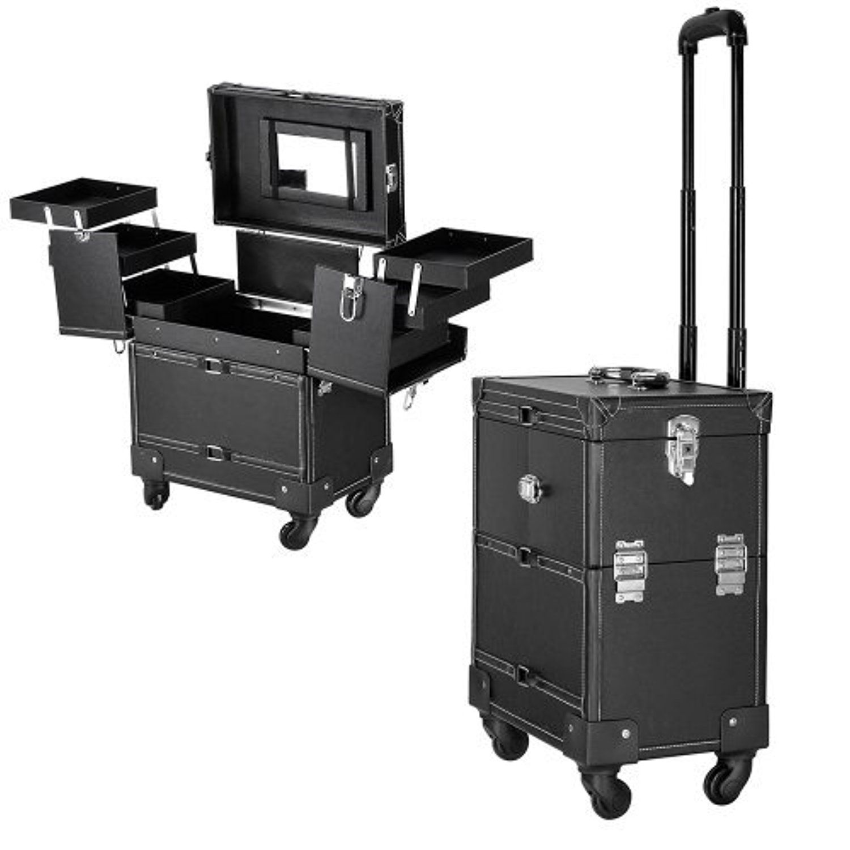 14X9X17inch Black PVC Rolling Makeup Cosmetic Train Case