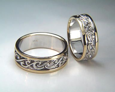 14kt Two Tone White Yellow Gold Double Wave Wedding Rings