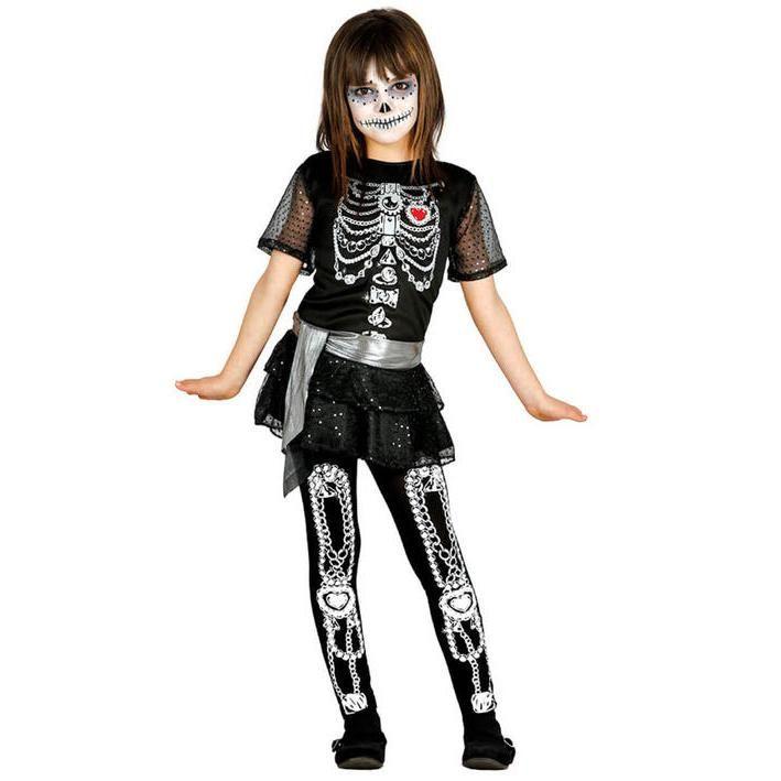 Disfraz de esqueleto fashion para niña
