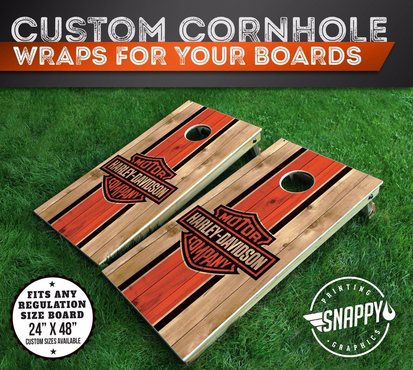 cornhole bag toss harley davidson faux wood cornhole decals bag toss board - Cornhole Board Wraps