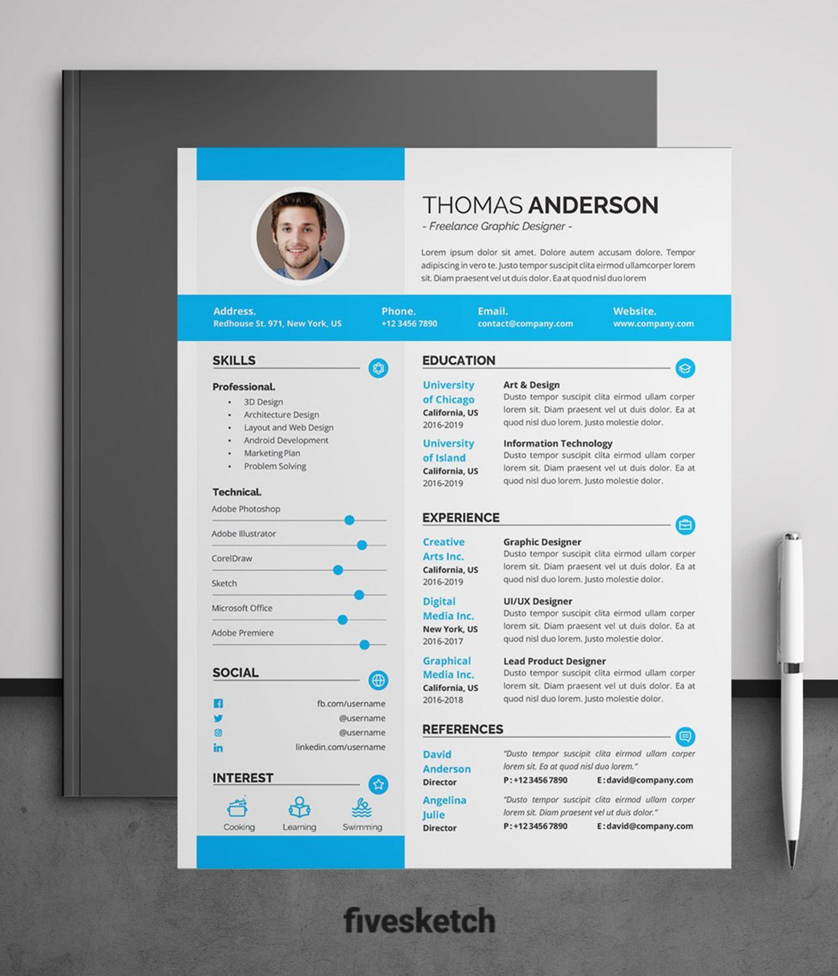 This professional and modern 01 Page Resume Template