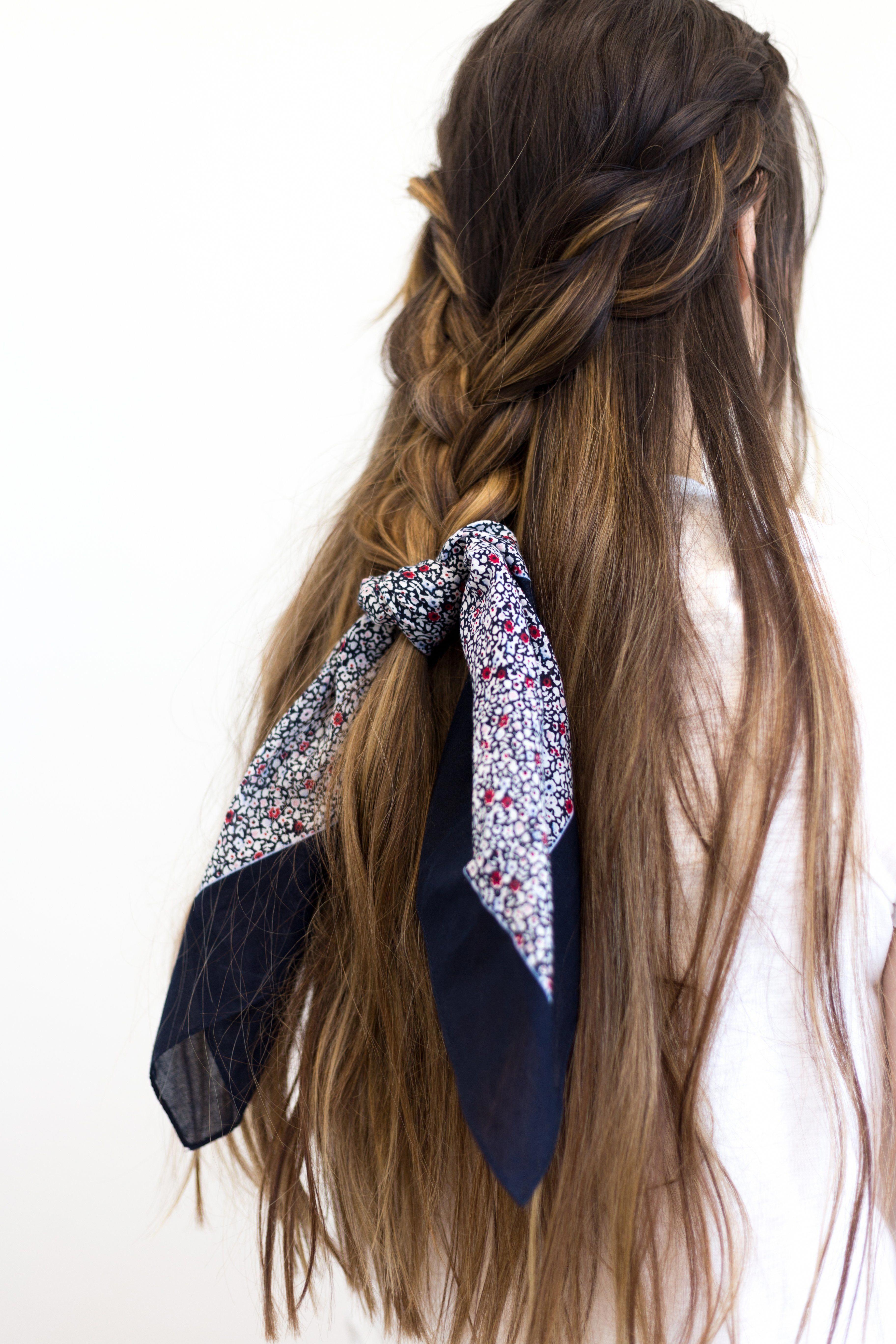 In Bloom Printed Scarf Braidshairstyles Scarf Hairstyles Hair Scarf Styles Long Hair Girl