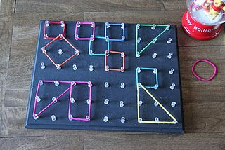 Geo-board. Wood, paint, thumbtacks and ponytail holders. M would love this.  I think I'd do nails instead of thumbtacks, though.