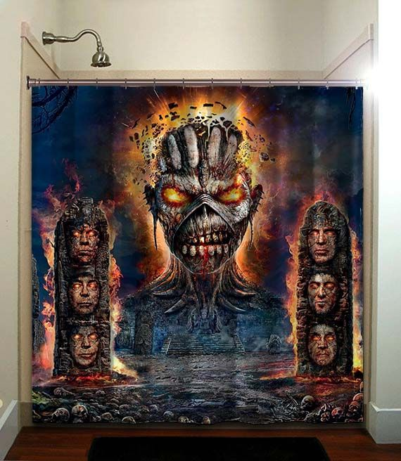 Iron Maiden Printed Waterproof Polyester Fabric Shower Curtain