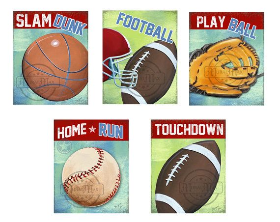 Sports Decor - Set of 3 Nursery Canvas Art , Baseball Wall Hanging, 12x16  Baby