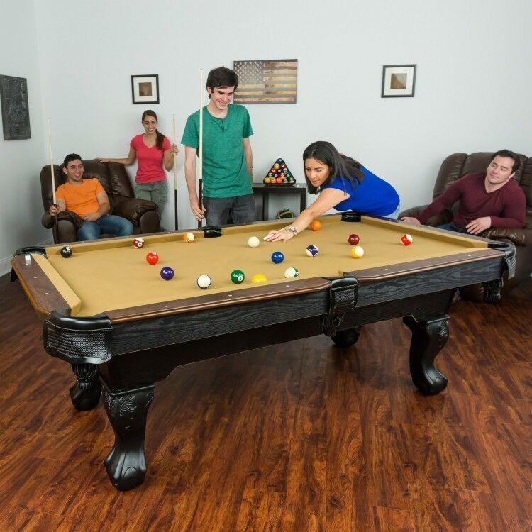 Pool Table Tan Cloth 87 inch Claw Leg Table w Full Set