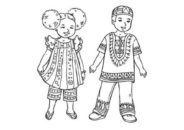 Kwanzaa, Two Little Kids in Traditional African Costume Celebrating ...