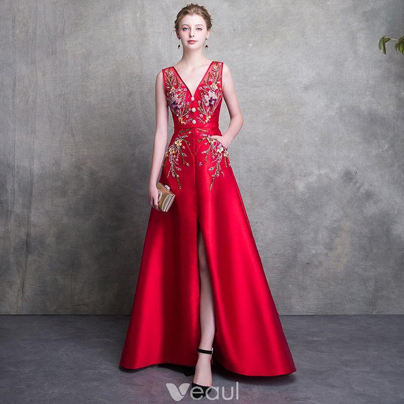 e37ad9ce03 Luksusowe Czerwone Sukienki Wieczorowe 2018 Princessa V-Szyja Bez Rękawów  Frezowanie Szarfa Podział Przodu Trenem Sweep Bez Pleców Sukienki Wizytowe