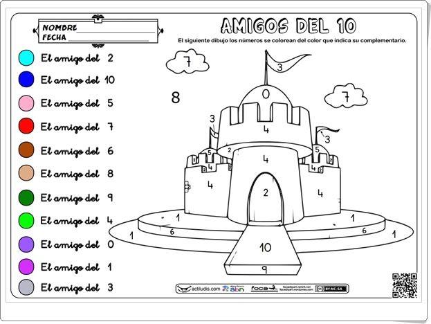 """""""Amigos del 10"""" (Colorea el castillo)   Infantil"""