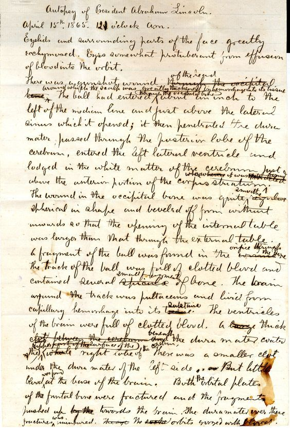 Abraham Lincoln Autopsy Notes Reveal The Horror Of An Assassin S