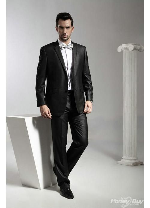 Black Peak Lapel One Button Tailored Black Designer Wedding Suits ...