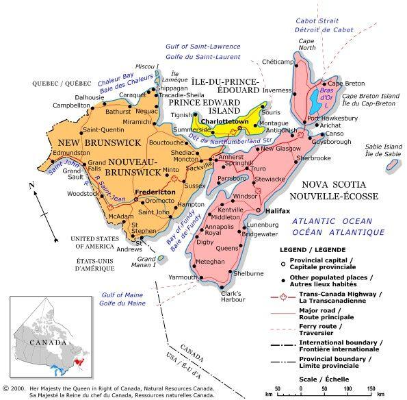 See Regional Maps of Canada  Nova scotia East coast and Road trips
