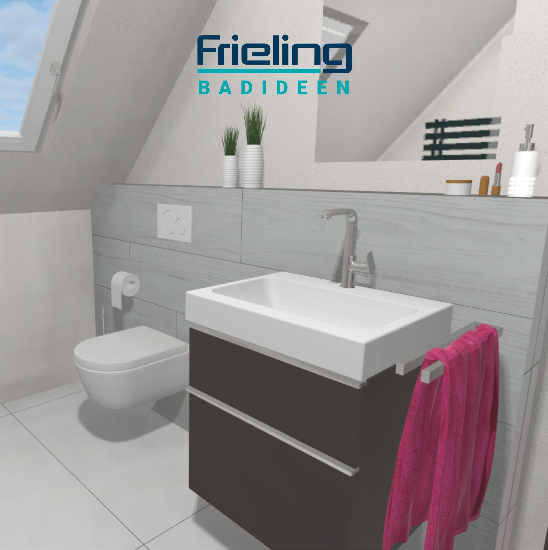 Das Bad Mit Dachschrage Ansicht Waschbecken Und Wand Wc In 2020 Bad Mit Dachschrage Wand Wc Badezimmerrenovierung