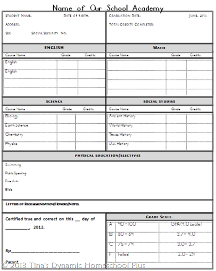 Homeschool High School Transcript | Homeschool, Homeschool High