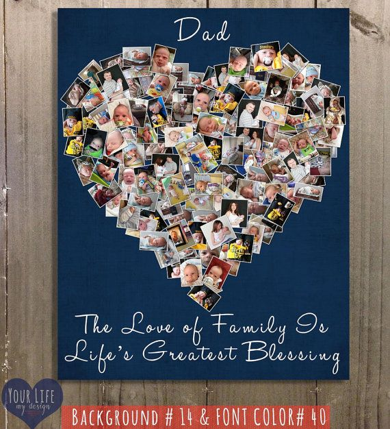 Dad Canvas Fathers Day Gift Personalized Photo Collage Birthday For Daddy