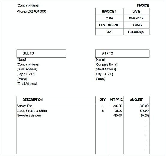 Billing Invoice templatess , Microsoft Excel Invoice Template