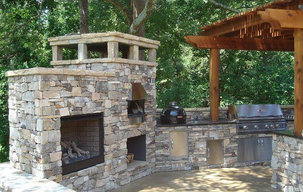 Outdoor Kitchen With Pizza Oven Green Egg Gas Grill Fireplace And Arbor What More Do You Need Outdoor Kitchen Patio Outdoor Fireplace