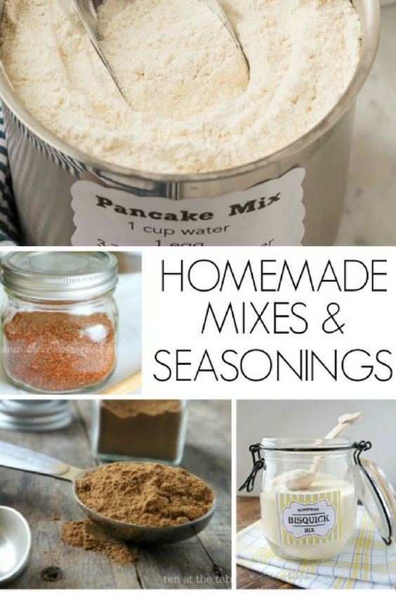 Awesome Homemade Mixes and Seasonings is part of Homemade seasonings - Make your own homemade mixes such as Bisquick, Nesquick, Taco Seasoning, Greek Seasoning, Sloppy Joe Mix, Cake Mixes and more!