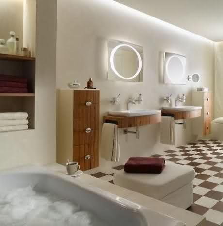 Contemporary Bathroom Lighting System in Combination Lights