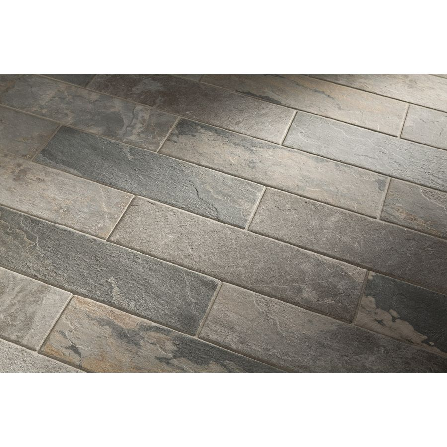Shop style selections ivetta black slate glazed porcelain indoor shop style selections ivetta black slate porcelain floor tile common x actual dailygadgetfo Image collections