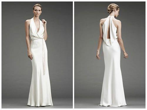 Nicole Miller Open-Back Drape Halter Gown : Wedding Nicole