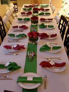 Simple Christmas table setting in red \u0026 green on white & Perfect for a family reunion church or any social group in large ...