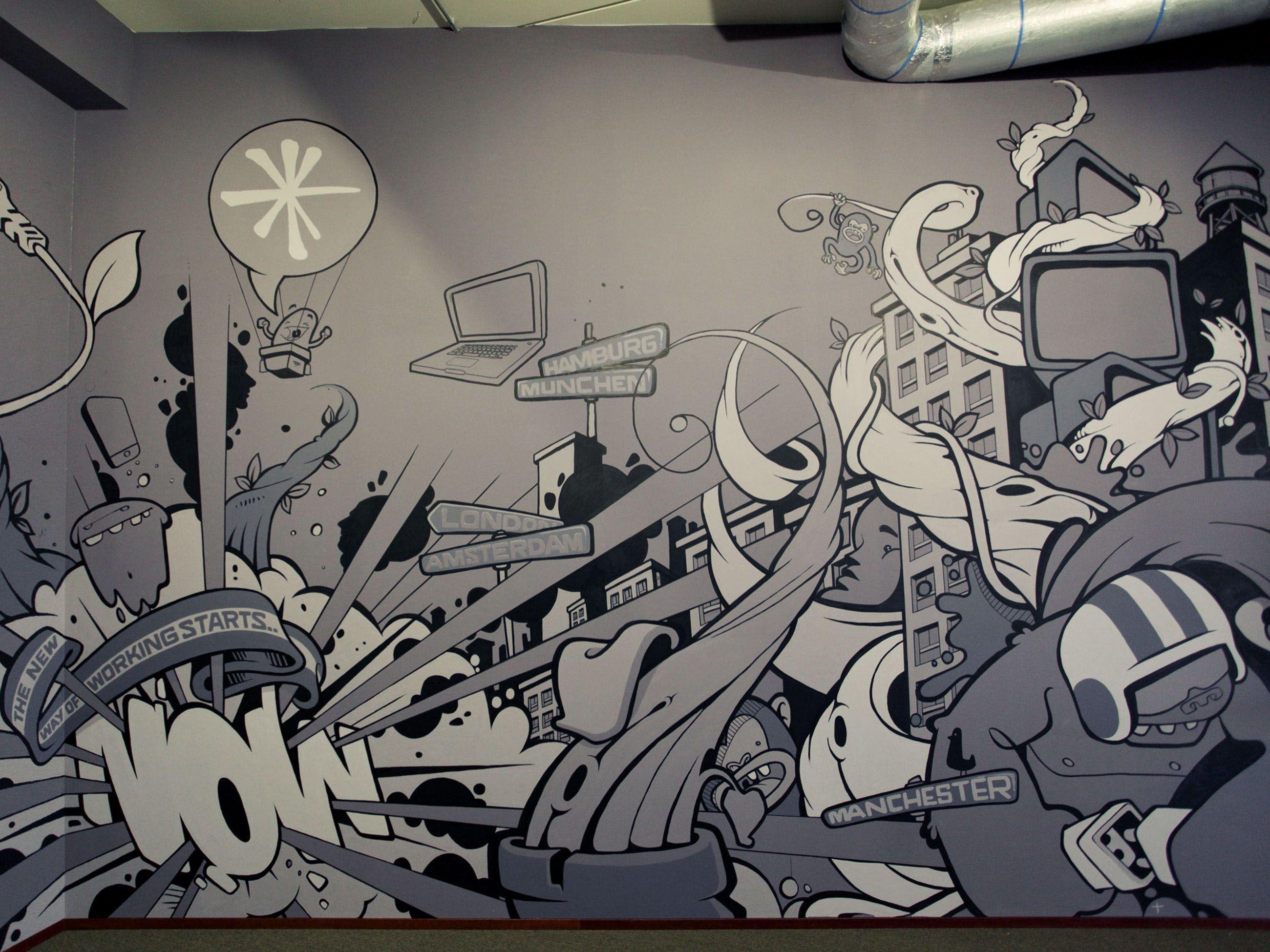 Qurius mural on behance Роспись pinterest behance and galleries