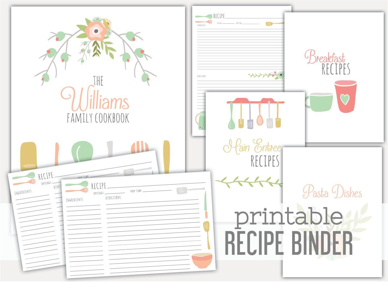 Printable Recipe Binder Family Recipe By Lemonlimeprintables Recipe Binder Recipe Binder Template Recipe Binder Template Free