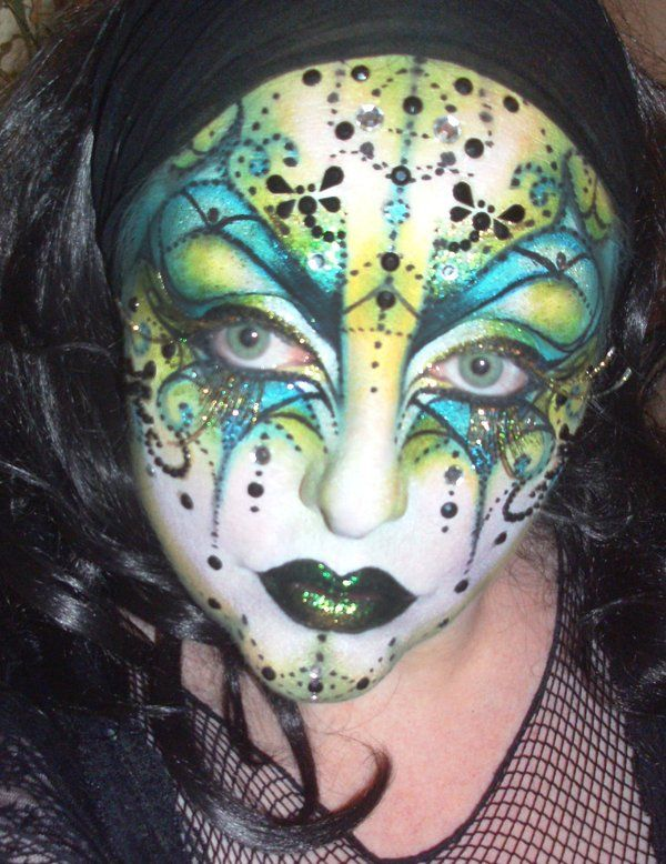 Crazy colorful crystal accented Venetian Mask make-up by BeccyBex on deviantART.