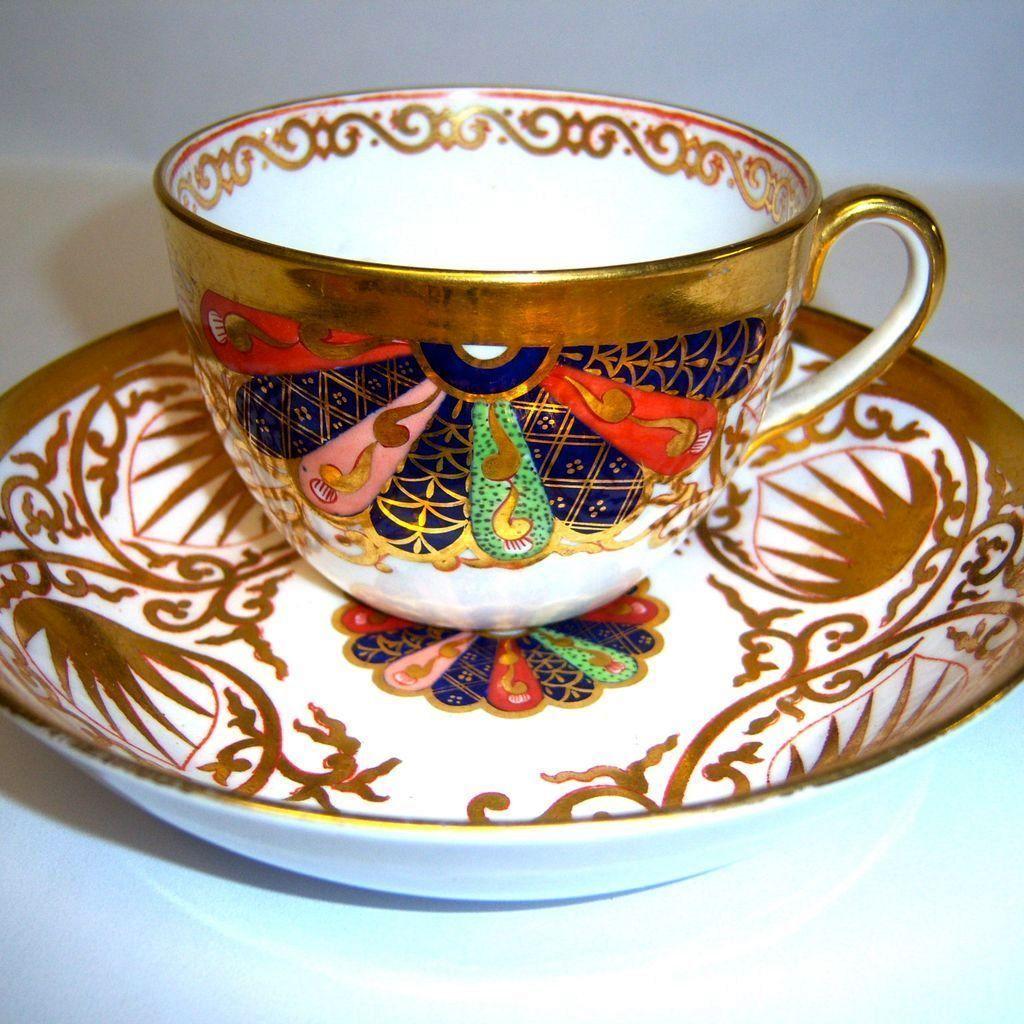 Ornate Antique Spode Porcelain Tea Cup & Saucer