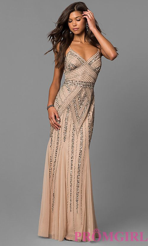 Image of long sequin-embellished prom dress with empire waist. Style   JU-MA-263312 Detail Image 2 70628b311dcc