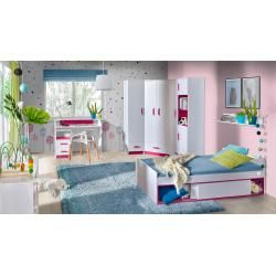 Photo of Children's room – cabinet Frank 05, color: white / pink – 189 x 45 x 40 cm (H x W x D) Easy MöbelEasy Mö
