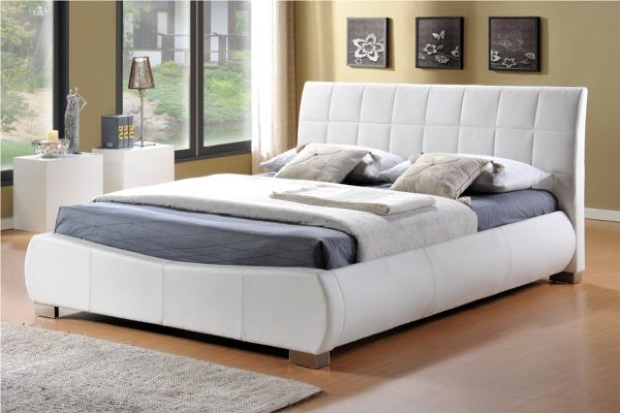 Dorado White Faux Leather Bed Frame | Bed frames, Leather bed frame ...